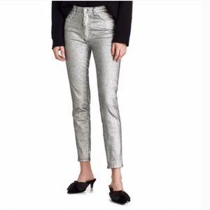 Zara high waist silver jeans
